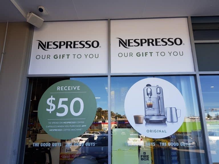 Business sigange for Nespresso