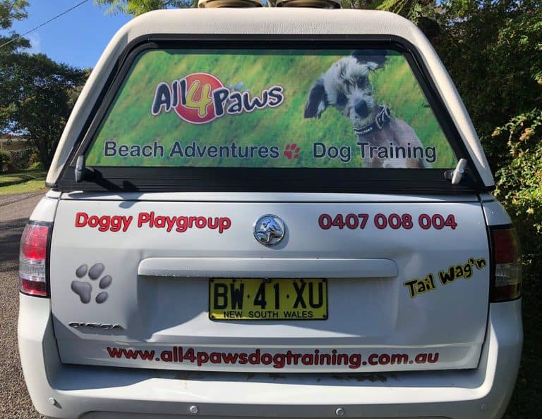 Vehicle signage for All 4 Paws Dog Training