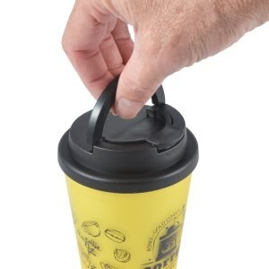 Aroma Coffee Cup with Handle Lid - top view handle