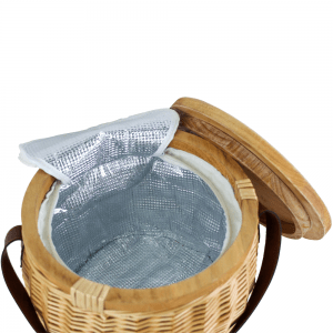 Trekk Wicker Cooler Basket Open