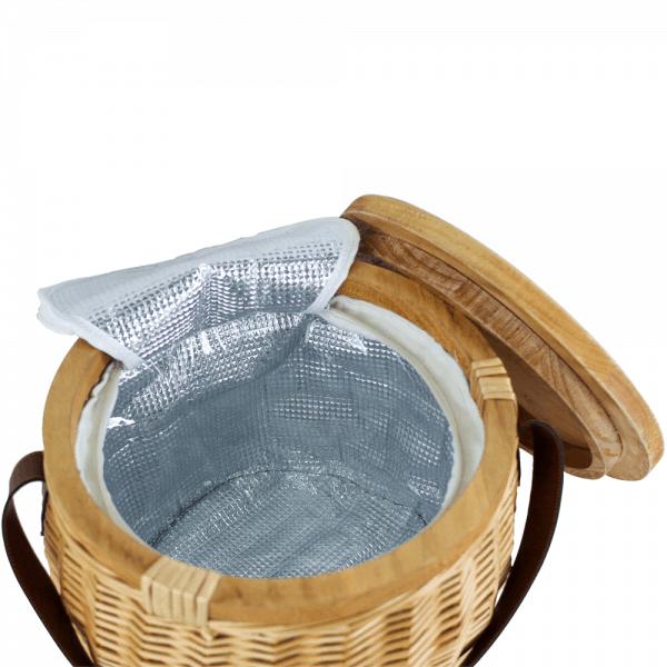 Trekk Wicker Cooler Basket Open