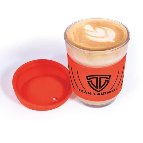 Vienna Glass Coffee Cup with coffee and branding on silicone band