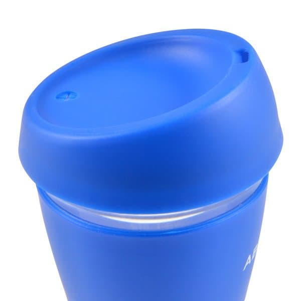 Vienna Glass Coffee Cup - side view silicone lid