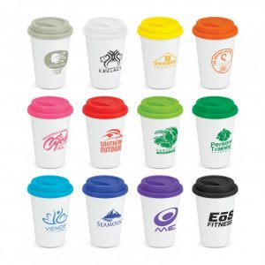 Aztec Double Wall Coffee Cup range with branding