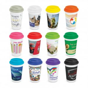 Aztec Double Wall Coffee Cup Full Colour range with branding