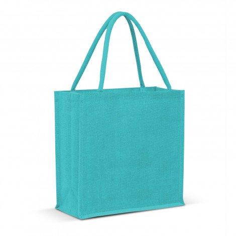 Monza Jute Tote Bag Colour Match - Aqua