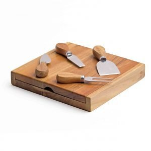Clamshell Cheese Board with utensils
