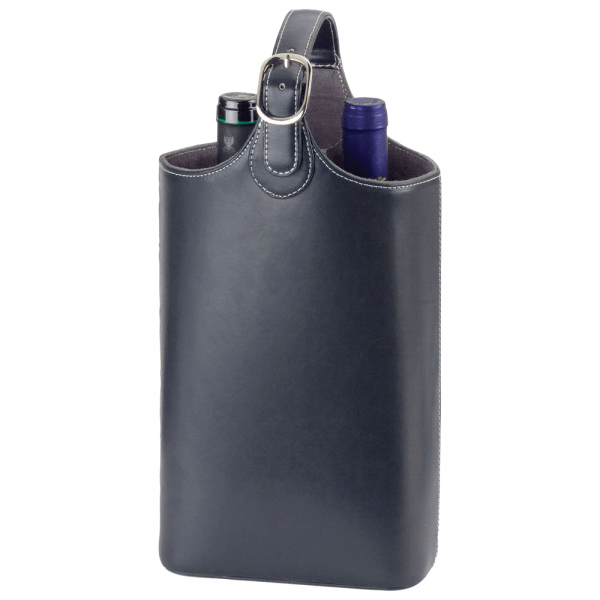 Bonded Leather Wine Carrier fits two wine bottles