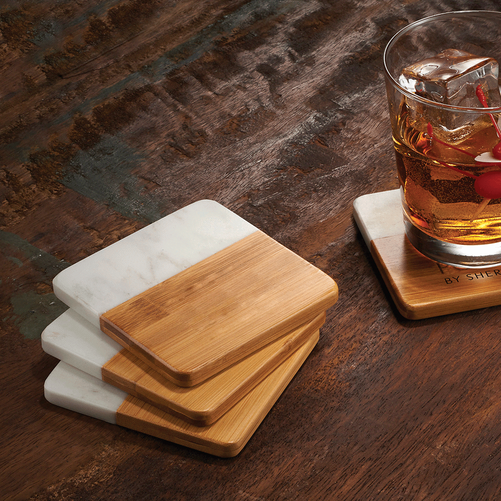 Marble and Bamboo Coaster set