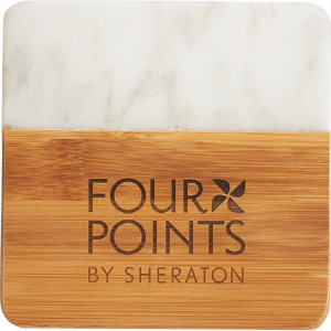Marble and Bamboo Coaster with engraved branding
