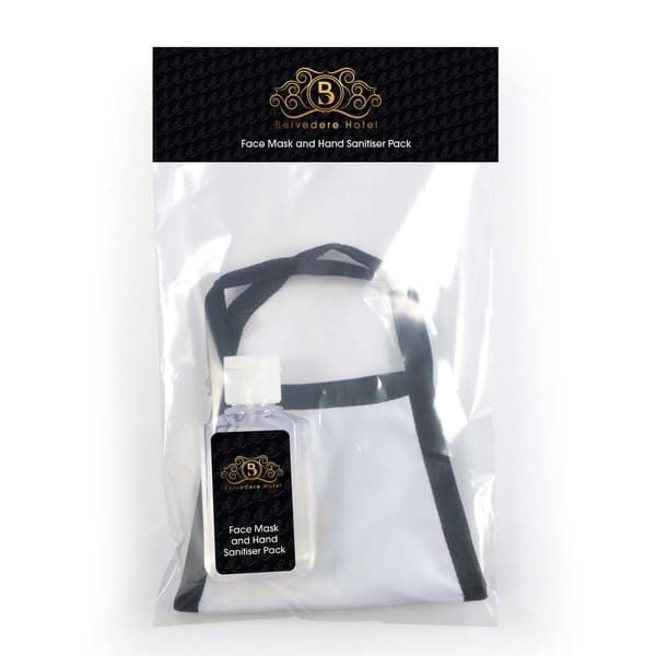 Shield face mask with hand sanitiser pack LL6025