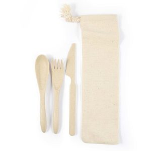Wheat Fibre Delish Eco Cutlery Set in Calico pouch LL8790 above