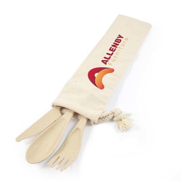 Wheat Fibre Delish Eco Cutlery Set in Calico pouch LL8790