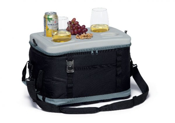 Eva Big Chill Cooler Bagclosed with food & drinks displayed on the lid