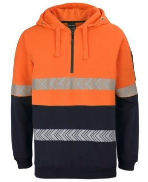 Mens Long Sleeve Hi Vis Hoodie - Orange