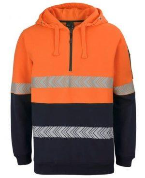 Mens Long Sleeve Hi Vis Hoodie - Orange