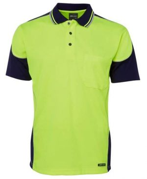 Polo Shirt Hi Vis Male Yellow and Black on sleeves