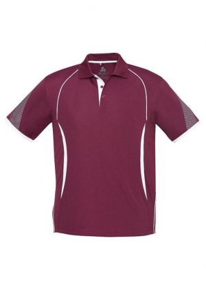 Polo Shirt Mens Maroon and White